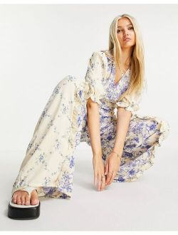 puff sleeve trim detail jumpsuit in mixed pastel floral
