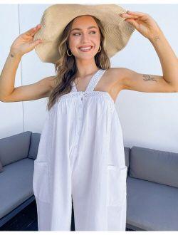 button through cotton jumpsuit in white