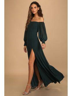 Feel the Romance Emerald Green Off-the-Shoulder Maxi Dress