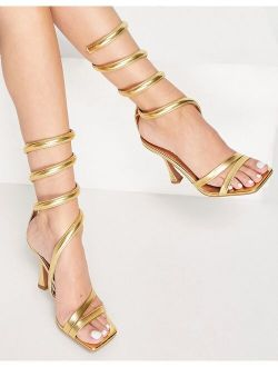 Neo ankle detail high heel sandals in gold