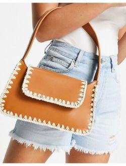 whipstitch detail shoulder bag in tan