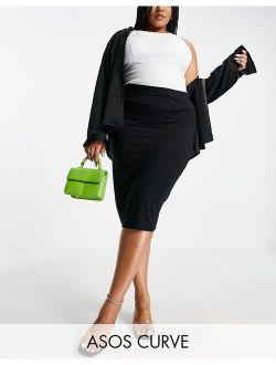 Curve jersey pencil midi skirt in black