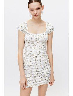 UO Brenan Printed Ruched Mini Dress