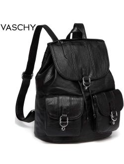 VASCHY Fashion Backpack Purse for Women Chic Drawstring School Bags with Two Front Pockets Soft Leather Backpack for College