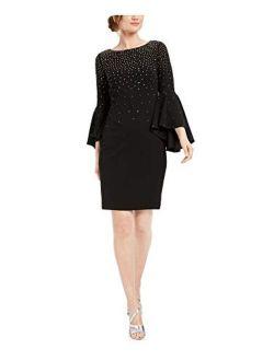 Womens Classic Bell Sleeve Sheath Dress