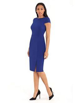 Women's Cap Sleeve Stretch Crepe Slit Sheath Dress