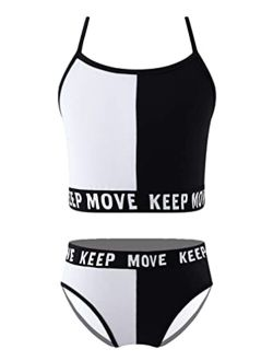 zdhoor Kids Girls 2 Piece Cami Bikini Set Shoulder Straps Bra Crop Top Briefs Sports Athletic Swimsuit