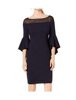 Womens Off-the-shoulder Illusion Sheath Dress