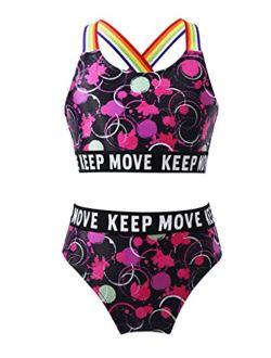 Freebily Kids Girls Athletic 2pcs Bikini Swimsuit Crop Tops and Bottoms Set Beach Pool Bathing Suit