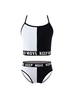 Nimiya Kid Girls Two Pieces Swimsuit Bikini Set Sport Tankini Swim Crop Top with Bottom Bathing Suits
