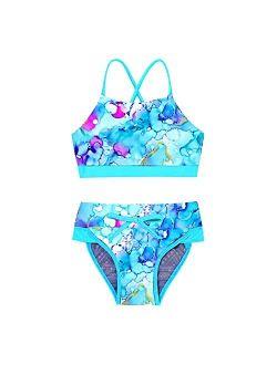 Yeahdor Kids Girls Two Piece Tie Dye Triangle Bikini Set X Back Crop Top with Brief Bathing Suit