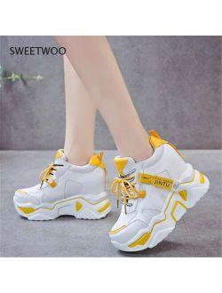 SWEETWOO 2021 Ladies Sneakers Sneakers Platform Wedge Heel Platform Sneakers Black Sneakers Casual Shoes