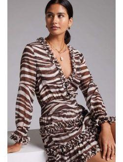 MISA Zebra-Striped Mini Dress