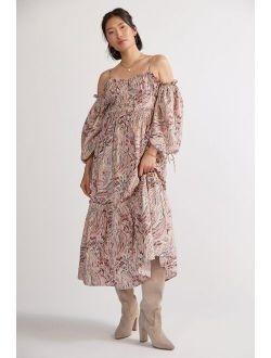 Love The Label Paisley Puff-Sleeved Maxi Dress