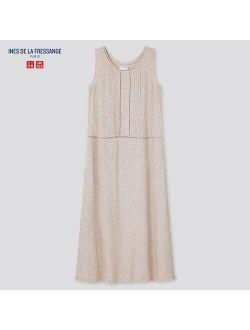 WOMEN RAYON PRINTED SLEEVELESS DRESS (INES DE LA FRESSANGE)