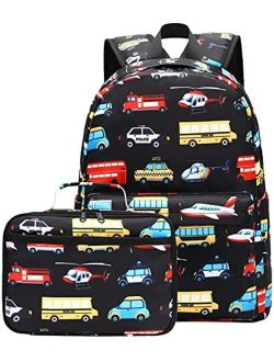 CAMTOP Backpack for Kids, Boys Preschool Backpack with Lunch Box Toddler Kindergarten School Bookbag Set (Y025-2 Dino-Navy Blue)