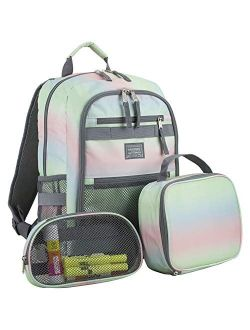 Eastsport Compact 3-Piece Combo Backpack with Lunch Box and Snack/Pencil Pouch - Black/Camo Print