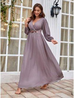 Surplice Neck Contrast Sequins Maxi Dress
