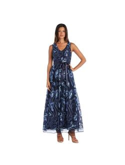 Petite R&M Richards Allover Embroidered V-Neck Gown