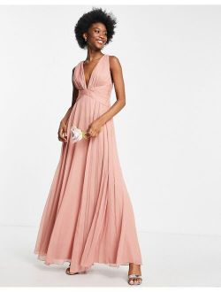 Bridesmaid ruched bodice drape maxi dress with wrap waist in dark rose