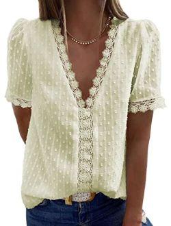 FARYSAYS Womens Summer Lace Tops V Neck Short Sleeve Shirts Vintage Elegant Polka Dot Blouses Tunic