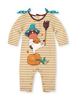 Penelope Plumm Orange Stripe Witch Cow Knot-Shoulder Playsuit - Infant & Toddler