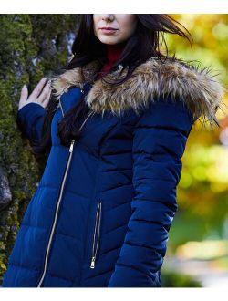 | Navy Faux Fur-trim Hooded Puffer Jacket - Women