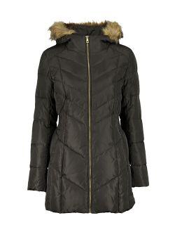 | Forest Down Fuzzy-hood Zip-front Coat - Women