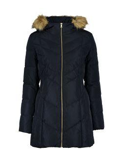 | Navy Down Fuzzy-hood Zip-front Coat - Women