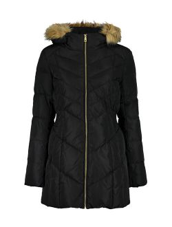 | Black Down Fuzzy-hood Zip-front Coat - Women