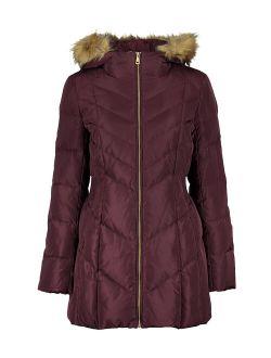 | Merlot Down Fuzzy-hood Zip-front Coat - Women