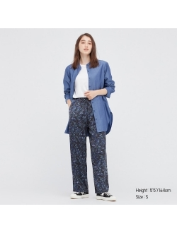 WOMEN SATIN DRAPE STRAIGHT PANTS