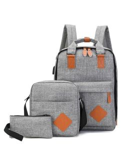 Men's Backpack Bag Male Polyester Laptop Backpack Computer Bags High School Student College Students USB Charging 3 Pcs
