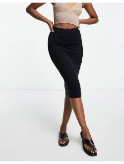 jersey pencil midi skirt in black