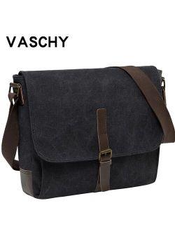 VASCHY Canvas Messenger Bag for Men Women Crossbody Bags Shoulder Bag Laptop Briefcase Luxury PU Leather Bags Outdoor Travel Bag