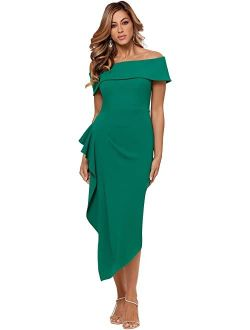 Off-the-shoulder Cuff Midi Dress
