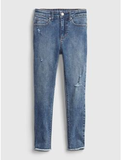 Kids High-Rise Distressed Ankle Jeggings with Washwell™