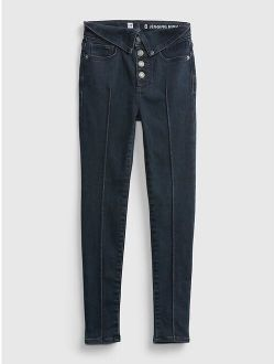 Kids High Rise Collar Jeggings with Max Stretch