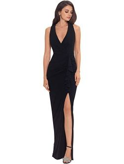Long Jersey V-neck Gown