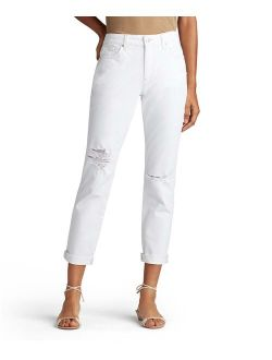 Airdrie White High-rise Rolled-cuff Straight-leg Jeans - Women