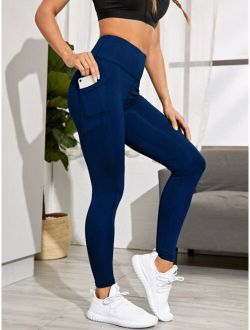 Topstitching Wide Band Waist Sports Leggings With Phone Pocket