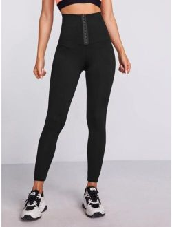 Wide Band Waist Solid Sports Leggings