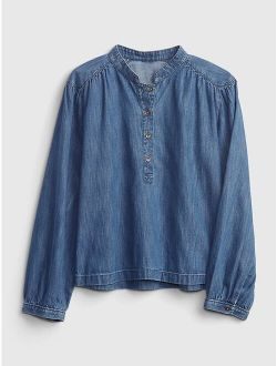Kids 100% Organic Cotton Shirred Denim Top