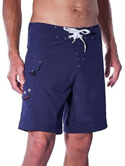 """Maui Rippers Men's Lifeguard Boardshorts - 4 Way Stretch   Choose: 19"""" or 21""""   Red or Navy   Patch/No Patch   Sizes 28 to 42"""