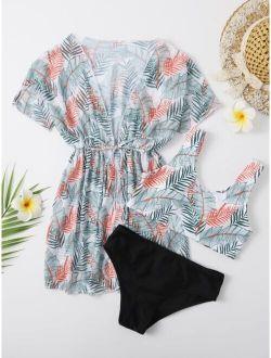 3pack Girls Tropical Bikini Swimsuit & Tie Waist Kimono