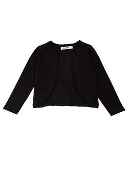 Girls Knit Long Sleeve Open Front Bolero Shrugs For 6-12years