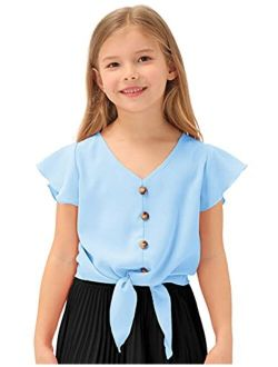 Girls Short Sleeve Shirts V Neck Ruffle Tie Knot Tops Solid Color Summer Shirts Blouse