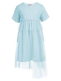 Girl Casual Short Sleeve Tutu Dress Lace Tulle Irregular Hem Princess Dress