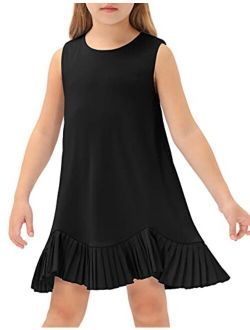 Girl's Sleeveless Dresses Round Neck Pleated Hem Solid Color Casual T-shirt Dress