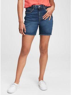 Teen Denim Sky High Rise Midi Shorts with Washwell ™